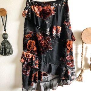 Floral, Velvet Midi Skirt